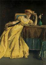 Alfred Stevens, 'Dame in geel' of 'Herinner', 1863, Koninklijke Musea voor Schone Kunsten van België, Brussel